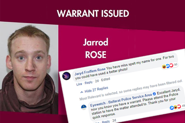 Article image for Alleged criminal trolls police social media post seeking help to locate him