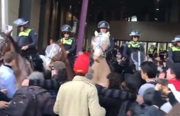 Article image for Anti-mining protest turns 'nasty': Police horse assaulted and more than 40 protesters arrested