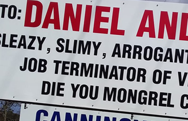 Article image for Timber mill owner won't remove offensive sign aimed at Daniel Andrews, denies going 'too far'
