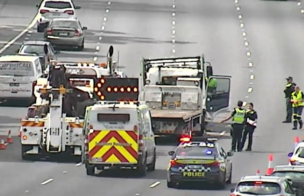 Article image for VicRoads staff left 'shaken up' after watching truck crash live on camera
