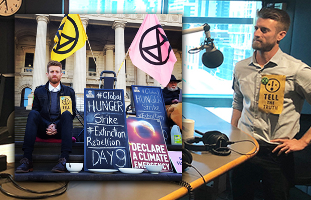 Article image for Extinction Rebellion protester returns to 3AW Drive (nine days into his hunger strike)
