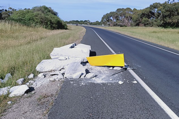 Article image for Concrete left dumped on side of Mornington Peninsula freeway for three months