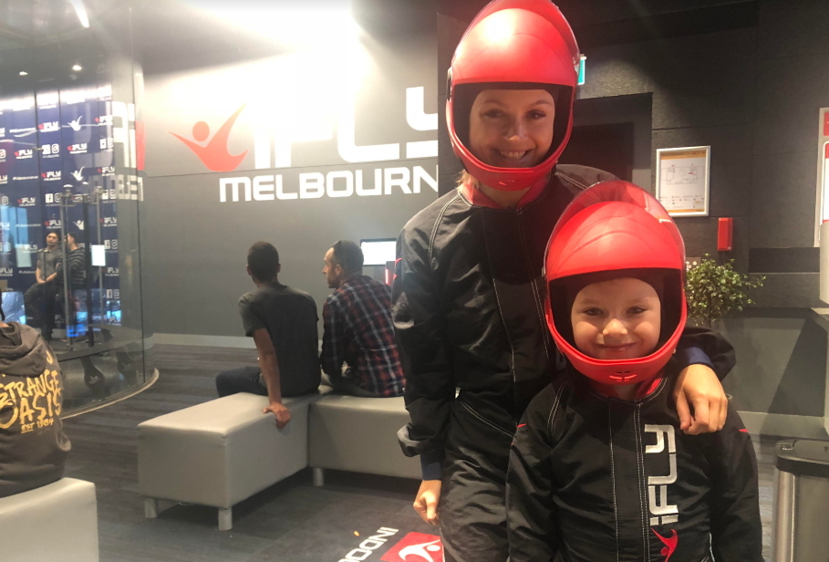 Article image for Georgi and her young son go indoor skydiving at Essendon!