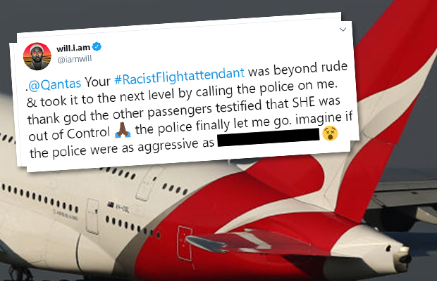 Article image for Qantas flight attendant urged to launch legal action against 'petulant' will.i.am