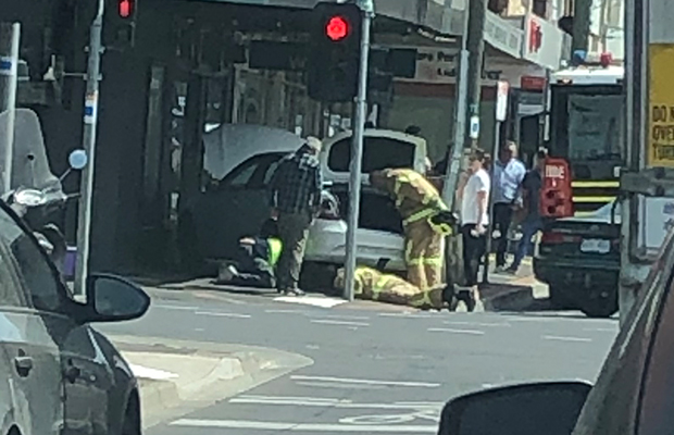 Article image for Car flies onto footpath at Murrumbeena