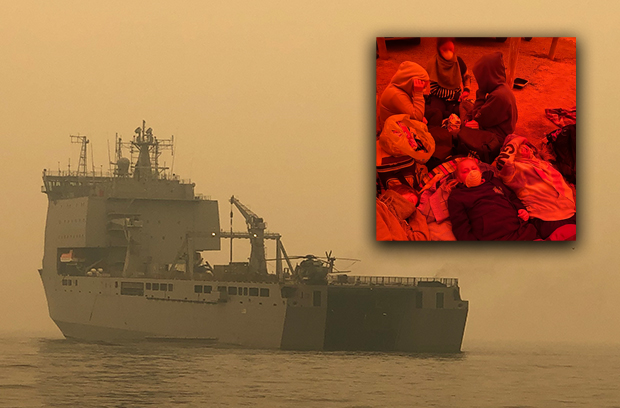 Article image for HMAS Choules to ferry fire victims out of Mallacoota
