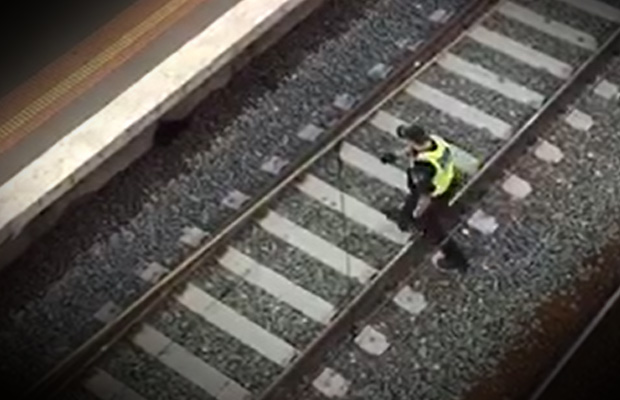 Article image for Video: Hero PSO saves cat from train tracks at busy Melbourne station