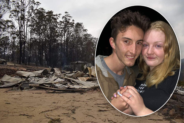 Article image for Young Sarsfield couple get engaged after fire destroys their home