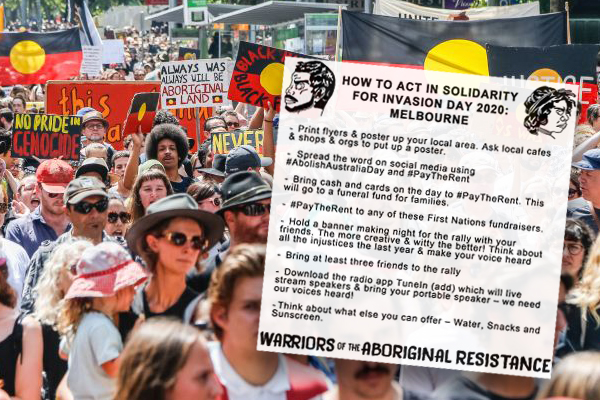 Article image for Australia Day protesters urged to bring cash and cards to 'pay the rent' to Aboriginal Australians