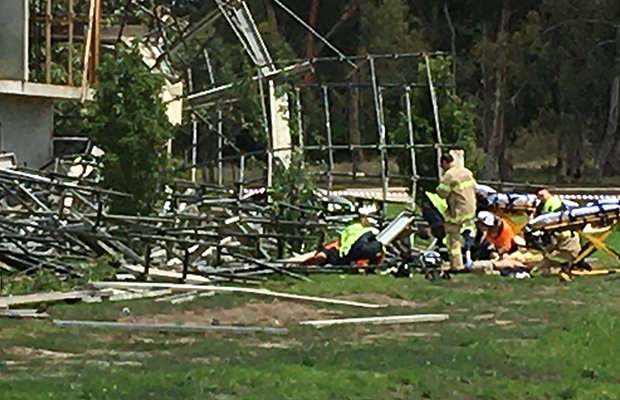 Article image for Large section of scaffolding collapses at Craigieburn, injuring several people