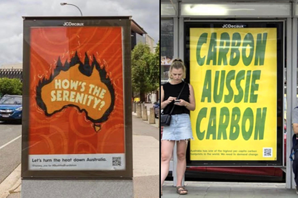Article image for Bushfire brandalaism: Advertising posters town down and replaced with political street art