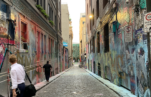 Video: Masked killjoys paint-bomb Hosier Lane street art