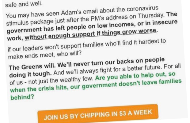 Article image for Greens slammed for using coronavirus pandemic as 'fundraising tool'