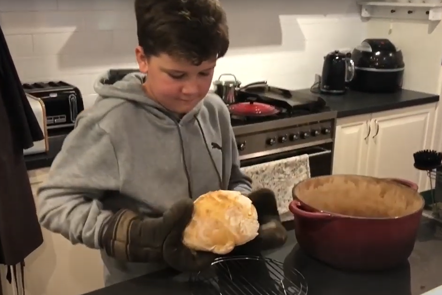 Article image for VIDEO: Nine-year-old Archie makes Adrian Richardson's no-knead sourdough bread!