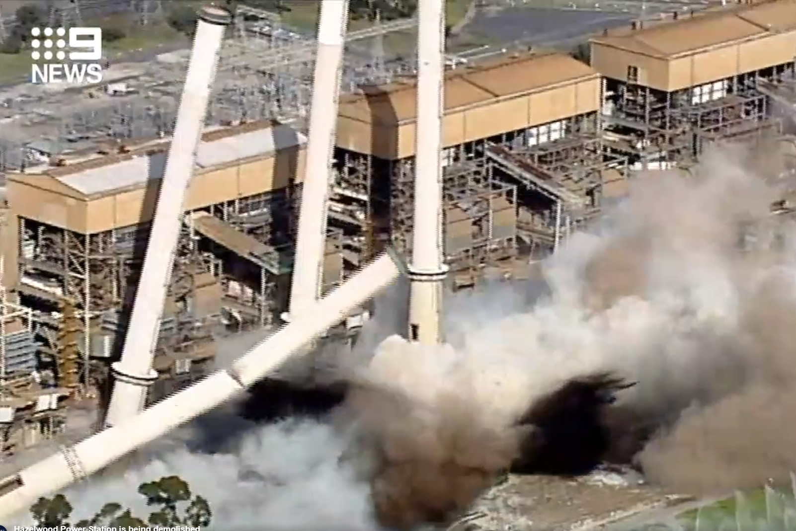 Article image for WATCH: Hazelwood Power Station chimneys demolished