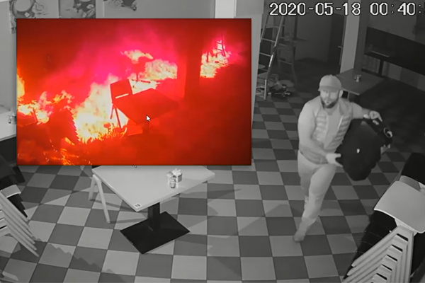 Article image for CCTV captures arsonist setting an Armadale cafe alight