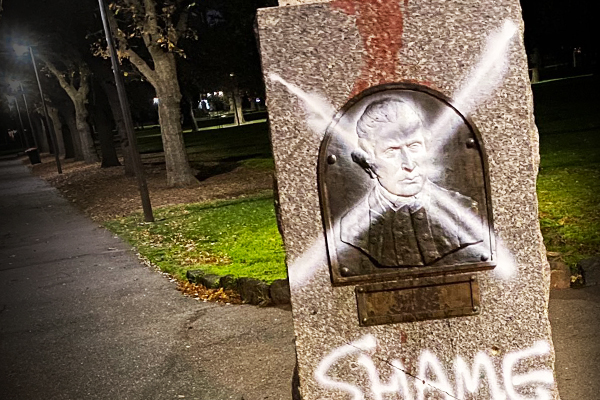 Article image for Cook monument defaced, historic cottage under guard