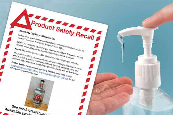 Article image for Hand sanitiser sold as gin sparks urgent recall