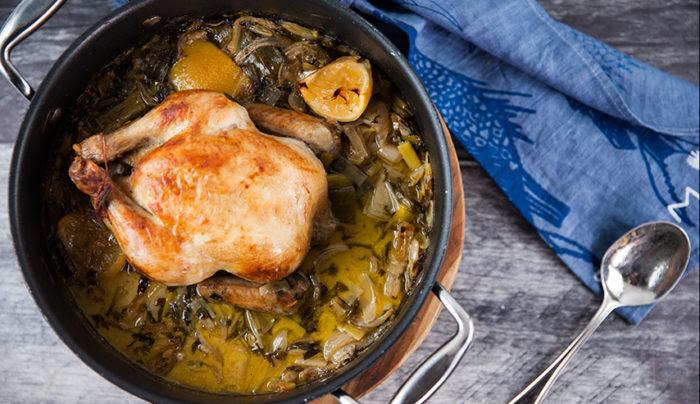 Adrian Richardson's baked chicken with milk, white wine, lemon & garlic