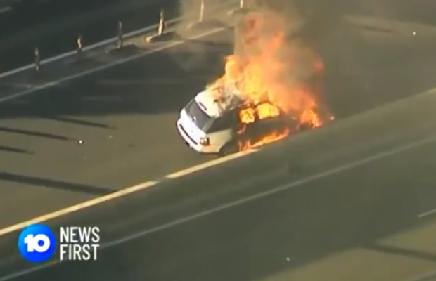 Dramatic scenes as Range Rover bursts into flames on West Gate Freeway