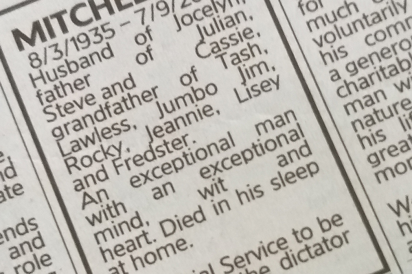Article image for An unusual death notice has been spotted in the paper