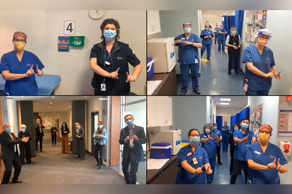 Article image for More than 400 frontline workers come together to form an uplifting scrub choir