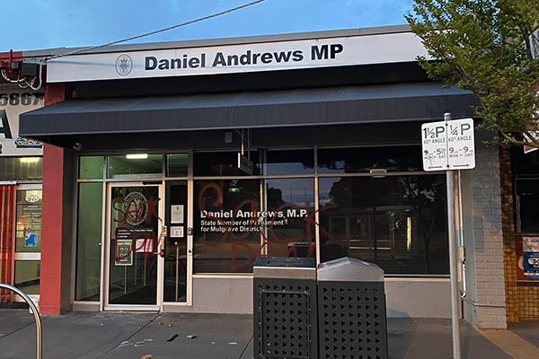 Article image for Premier's electoral office smashed and graffitied overnight