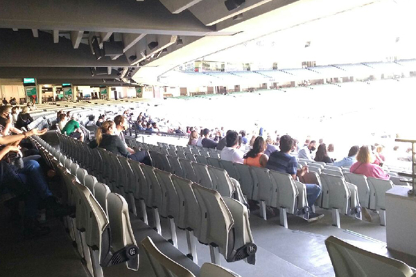 A crowd 'trial' appears to be underway at the MCG!