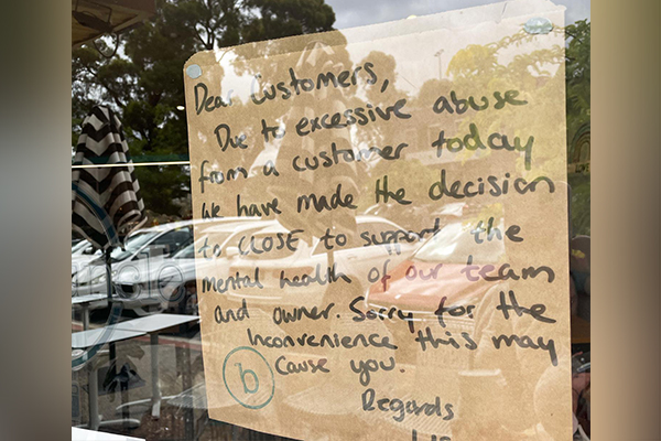 Article image for 'Excessive abuse' from aggressive customer forces Melbourne cafe to shut its doors