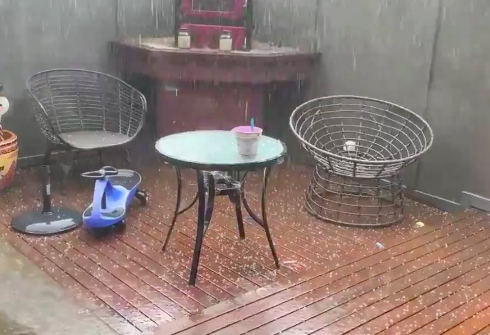 Fast-moving storms brings heavy rain and hailstones