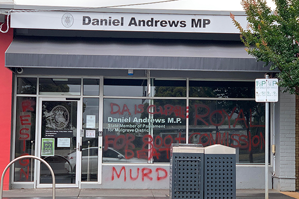 Article image for Premier's electoral office targeted in another graffiti attack