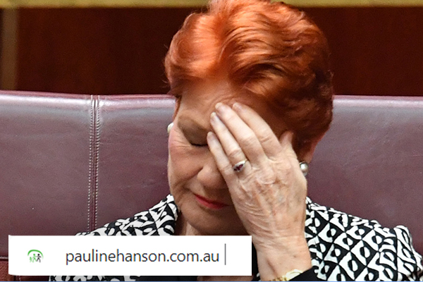 Pauline Hanson's website domain has been snapped up and redirected