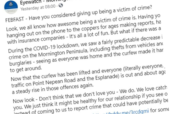Article image for 'Sick joke': Police slammed over victims of crime post on Facebook
