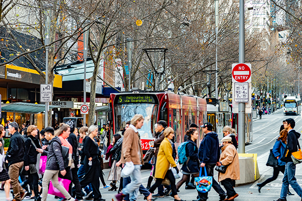 Article image for 'There's a buzz': Foot traffic in Melbourne's CBD surges to 10-month high
