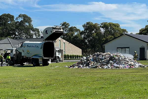 Article image for Flaming garbage dumped on Frankston church lawn