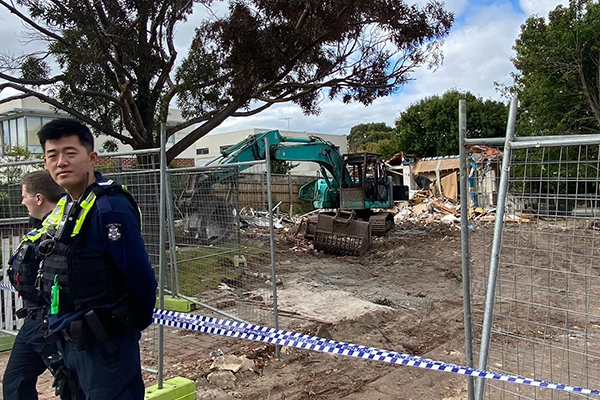 Article image for Excavator 'firebombed' at controversial development site in Melbourne's south-east