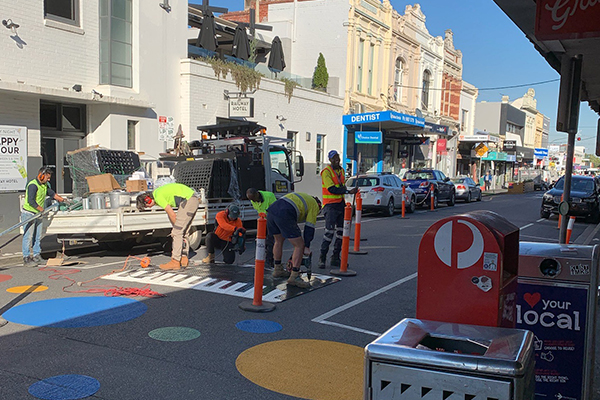 Article image for Speed humps installed on top of Yarraville's 'traffic calming' polka dots