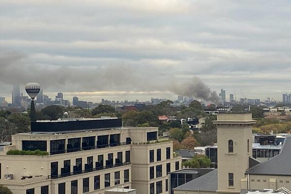 Black smoke across Richmond skyline