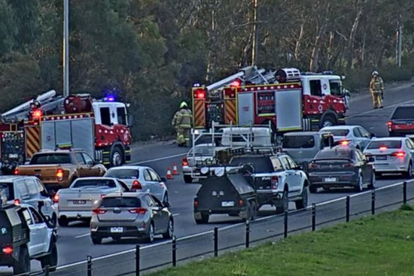 Article image for Luxury car fire sparks traffic snarl on East Link