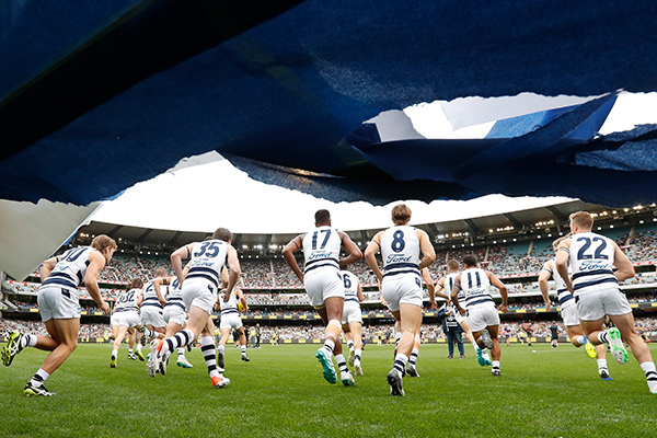 Article image for Geelong cheer squad left upset and asking for answers over banner decision