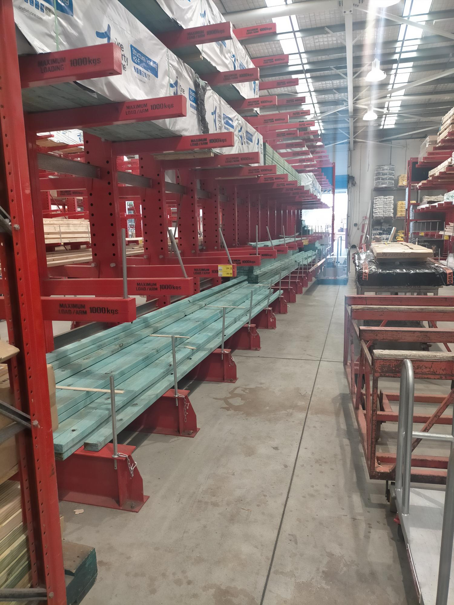 Hardware store shelves almost entirely cleared of timber at Traralgon