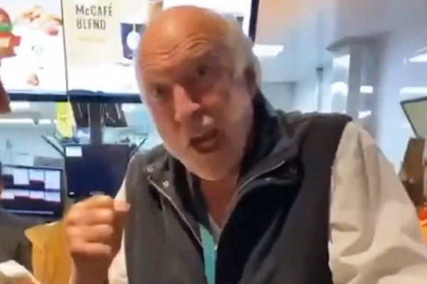 Article image for VIDEO: Rex Hunt recites some iconic commentary at a crowded McDonalds