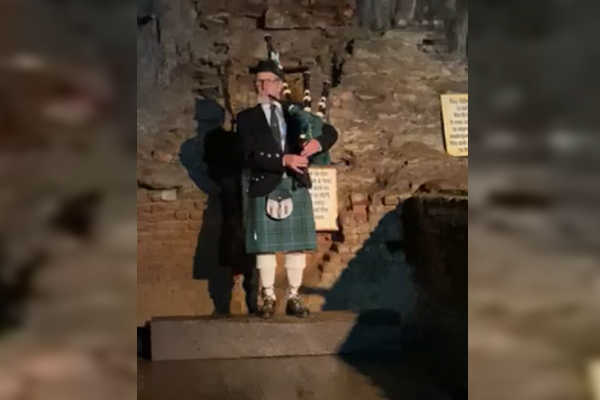 Article image for Why this man ventured down a Gippsland gold mine with his bagpipes