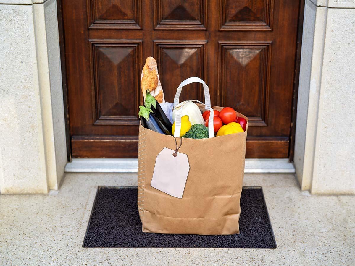 Parcel of food on doorstep