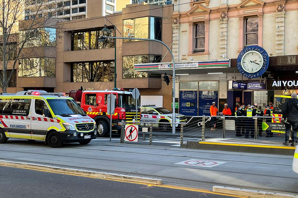 Article image for Four people injured in Bourke Street concrete pump explosion
