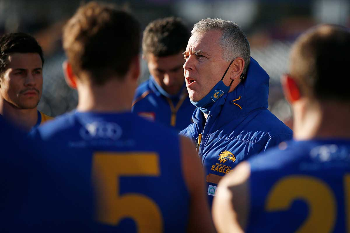 West Coast coach Adam Simpson shares his thoughts on pausing the season