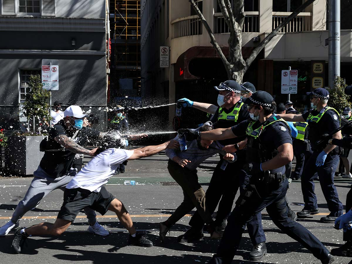 Article image for The first thing Sly noticed about violent anti-lockdown demonstrators on the weekend