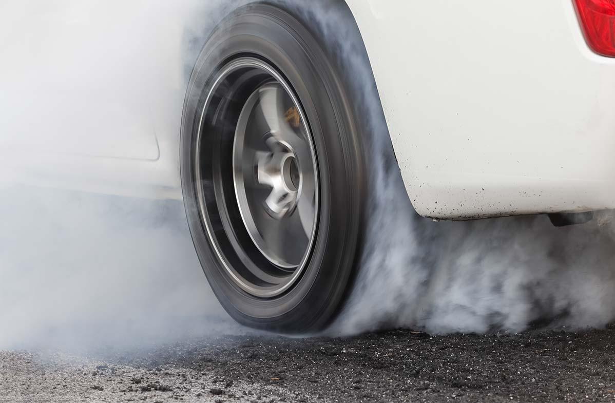 Car wheel burnout