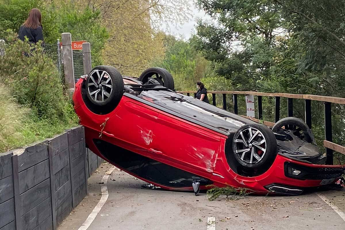 Article image for Darren James narrowly escapes car that ended up on Yarra bike trail