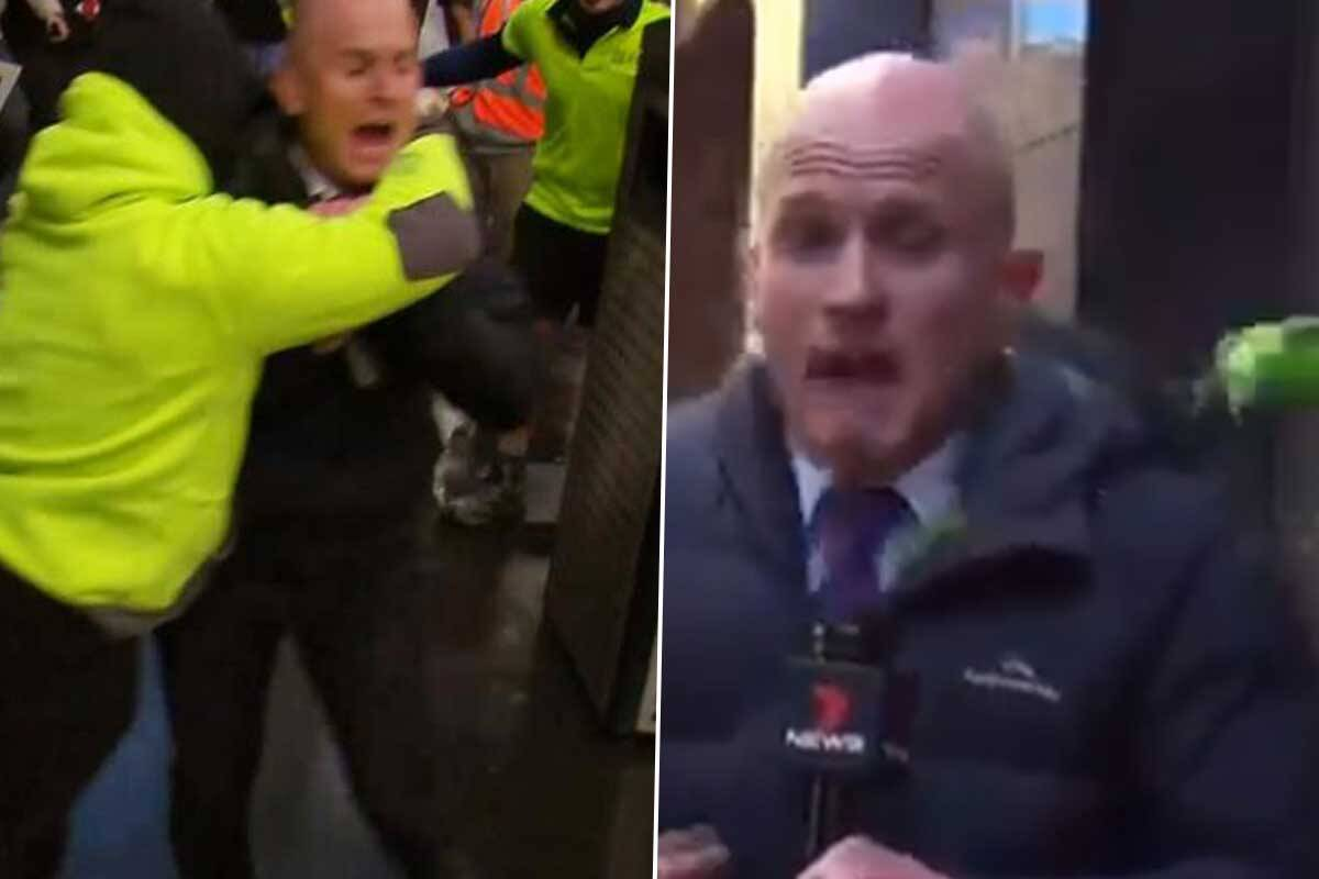 Article image for TV reporter attacked and left bleeding from head as violent anti-vaxxers riot in CBD